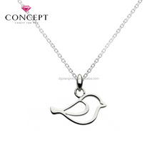 High Polish 316L Stainless Steel Hollow Little Bird Pendant Necklace