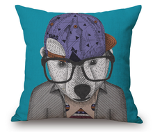 2015 China factories supply alibaba sale fashion soft 100% cotton dog with glasses printed decorated throw pillow