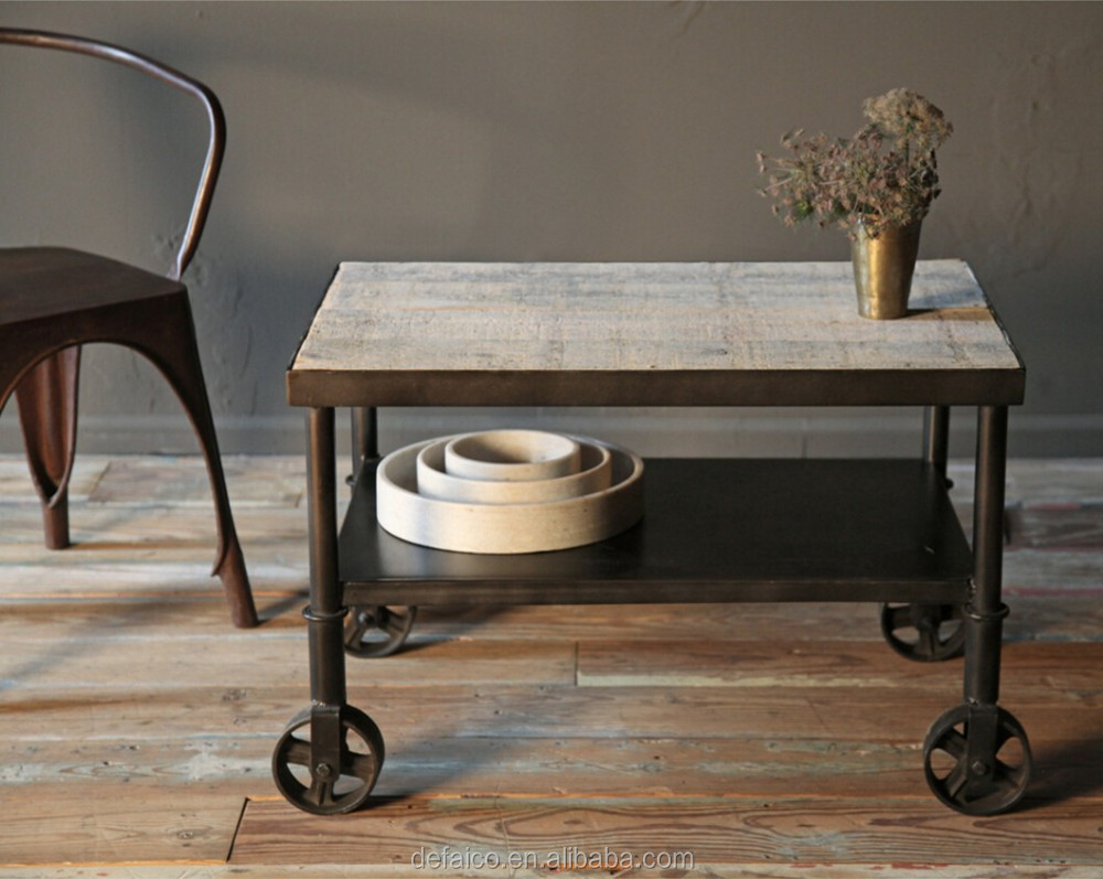 Rustic industrial small cart side coffee table buy for Small industrial coffee table