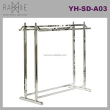 Ramie Hanger, Mannequin, Rack & Paper Products supplier: Double Bar Stainless Steel Retail Display Clothing Rack
