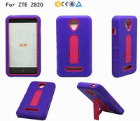 PC Silicone hybrid combo kickstand stand cover case for ZTE Obsidian Z820 protective sleeve case