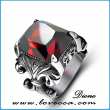 Gz cusotm black stainless steel men punk popular gemstone man rings
