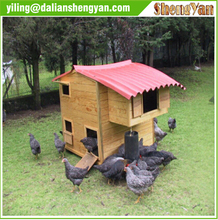 wooden chicken coop with drinker and feeder
