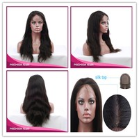"""Premier Hair 18inch Indian Remy Hair Natural Color Natural Straight 4*4"""" Silk Base Full Lace Wig"""
