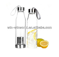 2014 Manufacturer Promotional Gift Glass Bottles Made In China Tea Infuser Bottle
