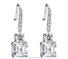 3A zircon 925 Sterling silver big square Drop earrings