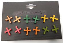 Customized Handmade Wooden Cross Stud Earrings Women Accessories Wood Stud Earrings