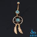 chapado en oro de color turquesa de nativos americanos dream catcher joyería piercing ombligo dreamcatcher anillo del vientre
