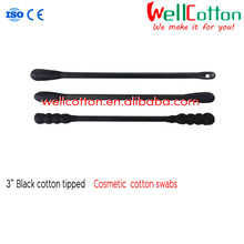 Paper stick black Cotton bud for cosmetic/ spiral cotton swab