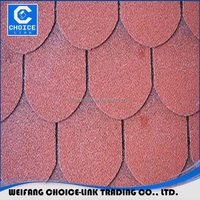 Chinese Red Color Round Shape Fiberglass Roofing 3 tab asphalt shingle