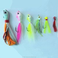 China wholesale jig fishing lure bucktail jig head with hook
