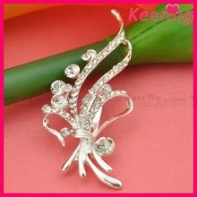 Fashion hijab pins Silver Rhinestone flower dress brooch WBR-1302