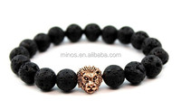 Lion Head Bracelet, Black Lava Rose Gold Lion For Men, Fashion Lava Stone Bracelet