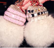 Fashion new car keychain handbag charm real pink fox fur ball bunny keyring gift
