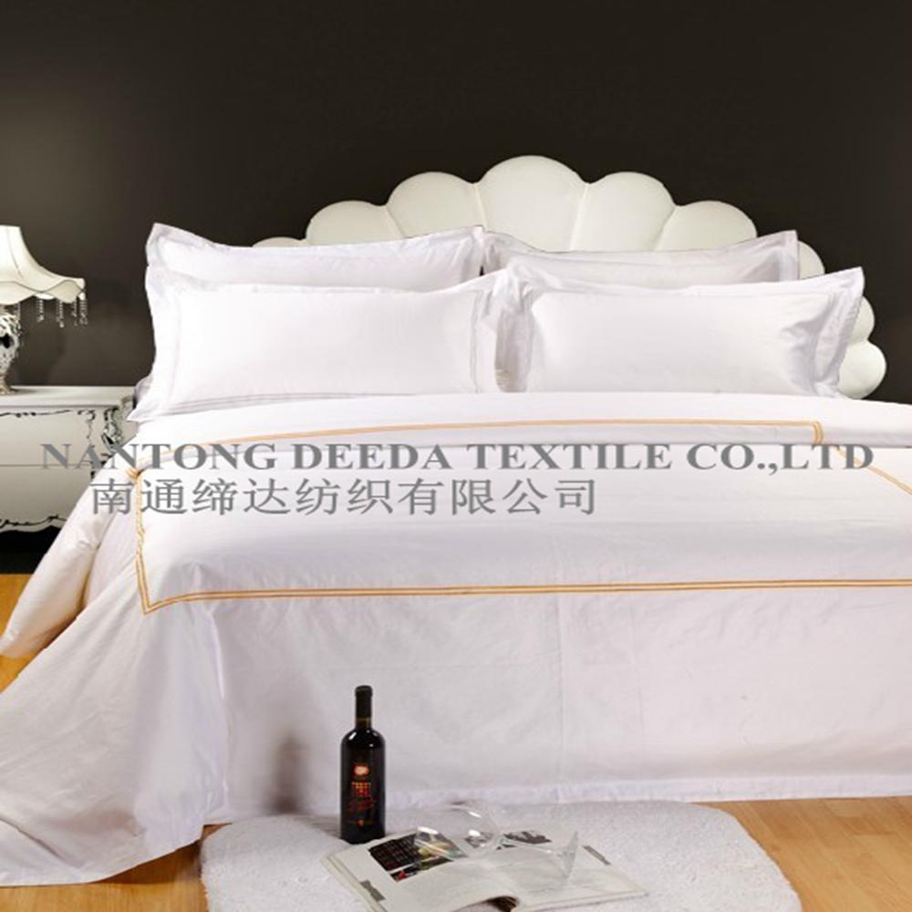 Bordado t xtil cama de hotel conjunto de folhas branco for Textil cama
