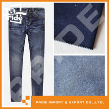 PR-WD253 ladies black and white stripe stretch mid waist denim jeans fabric factory