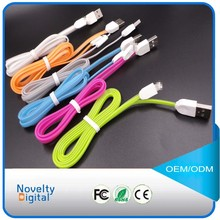 Flat noodle jelly micro usb data cable for mobile phone, colorful portable usb cable