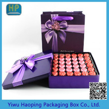 Luxury\Handmade/ Square chocolate tin packaging boxes,New design gift box with purple bow