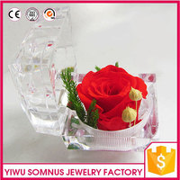 Presents of fabric red rose flower glass box cover for Saint Valentine's Day / Birthday to lovers girlfriends wholesale A032