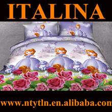 china manufacturer beautiful princess print 3d 100% cotton children duvet cover set with matching curtain