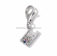 Custom Rhodium Plated Metal Alloy Colorful Crystal Cell Phone Charm Jewelry With Lobster Clasp