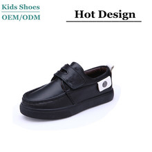 China shoes factory teenage children boys black plain leather school shoes
