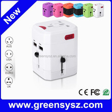 GE-W13 unique corporate gift 2500mA world adapter plug socket with dual usb
