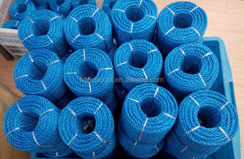Blue color PP Raffia twisted rope in roll.jpg