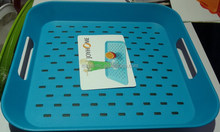 Plastic square double non slip tray with handle