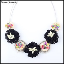 Newei 2015 Statement Necklace Multicolor Handmade Flower Choker Collar For Ladies