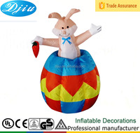 Easter Inflatable Lighted Bunny Rabbit Up-and-down Holding Carrot Indoor Outdoor Decoration