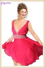 hot sale cheap wholesale price sleeveless sexy V neck beaded waist belt red knee length short chiffon cocktail dresses