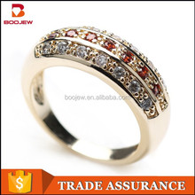 2015 newest design wholesale jewelry gold plated dubai ruby and white cz silver ring for men and women