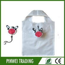 cartoon cow Shopping Bag folding polyester tote bagreusable folding tote bags