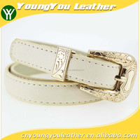 2015 fashion dress PU leather belt with shiny gold buckles in YiWu factory