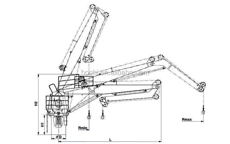 Yacht Hydraulic Crane : Marine hydraulic knuckle boom crane view