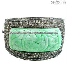 Diamante natural de jade allanar brazalete talla, talla de piedras preciosas pulsera, 14k pulsera de oro amarillo