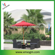 2.7M Red Colour Handle Pulley Wooden Patio Umbrella