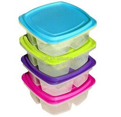 Happy Large 3-compartment Leak Proof Bento Lunch Box Containers for Kids - Set of 4 (Small)