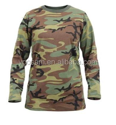 Custom Cheap T Shirt Camouflage Fabric Long Sleeve T Shirt