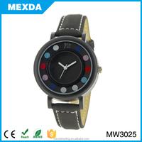 unisex casual leather quartz analog wrist branded watch