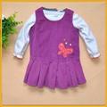فستان القطيفة الأطفال الأطفال اللباس اللباس سروال قصير الأطفال الرجعية zzj-dr-311