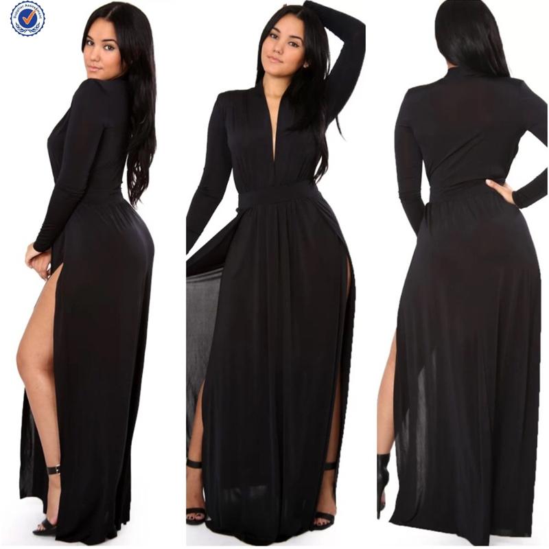 Turmec » long sleeve v neck maxi dress with split