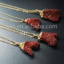 HOT!!! natural sea red coral necklace, 24k gold plated coral jewelry necklace WT-N185