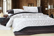 new hot sale classic simple white PV coral fleece patchwork comforter set for the rich
