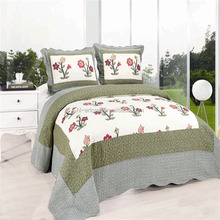 Pure cotton printed patchwork 3pc bedding set cotton embroidered quilts