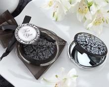 Wedding favor-- Damask Elegant Black & White Make up Mirror