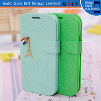 Mobile phone flip cover For Samsung i9500 S4 with fancy decoration