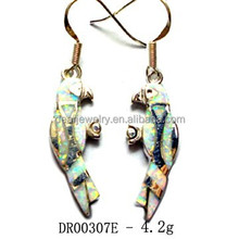 2015 China Supplier Fashion Jewelry New Products Wholesale silver Earring with opal stone White Opal Earring Pay By Paypal