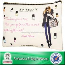 Bulk canvas zipper cosmetic pouch bag